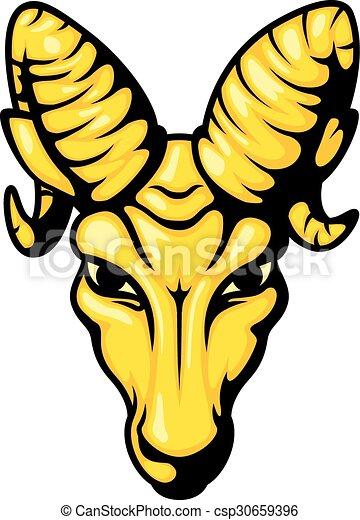 Angry ram head mascot illustration - csp30659396