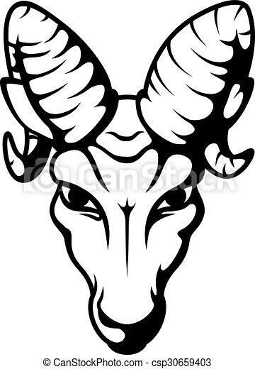 Angry ram head mascot tattoo - csp30659403