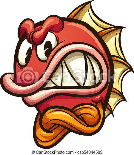 angry red fish angry cartoon fish vector clip art vector rh canstockphoto com