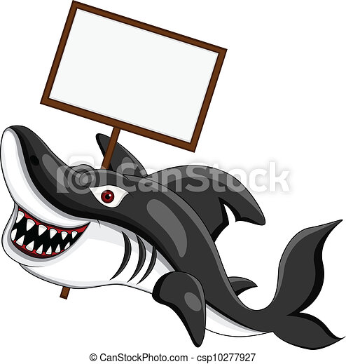 angry shark with blank sign - csp10277927