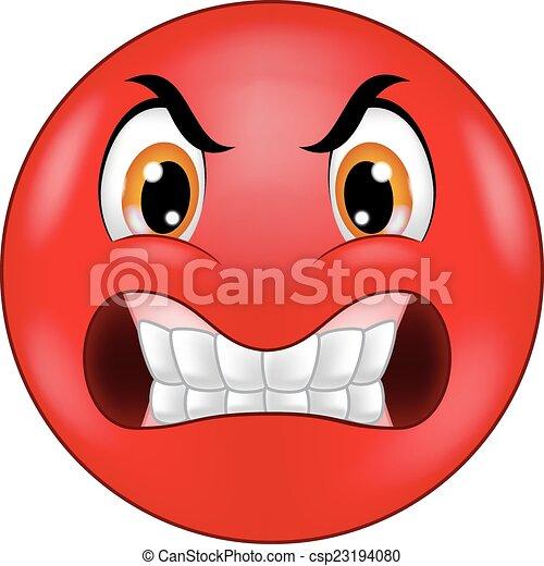 Angry smiley emoticon cartoon - csp23194080