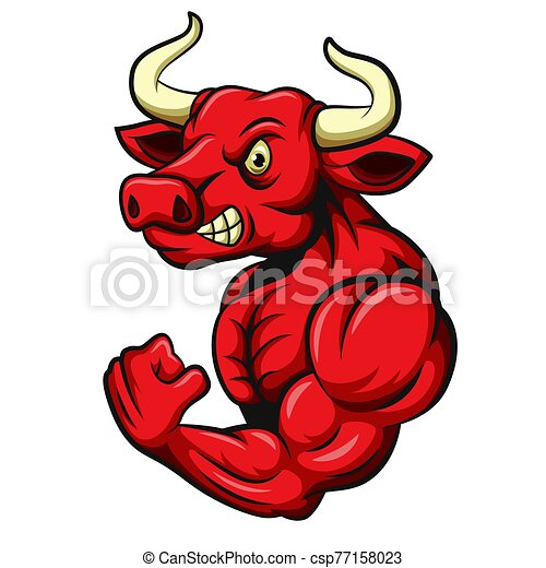 Angry strong bull with muscular body - csp77158023