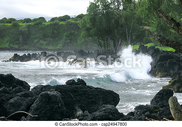Angry Surf and Black Lava - csp24947800