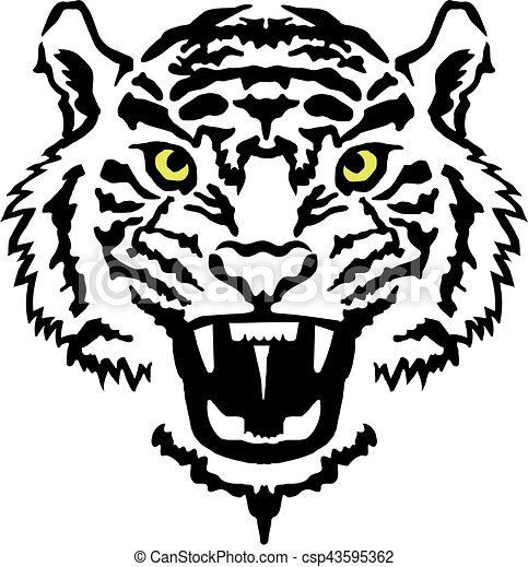 angry tiger head with yellow eyes clip art vector search drawings rh canstockphoto com lsu tiger head logo tiger head logo png