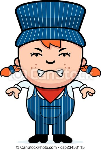angry train conductor a cartoon illustration of a girl vector rh canstockphoto ca