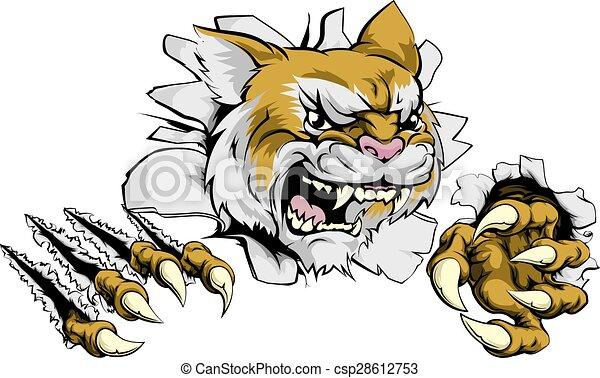 Angry wildcat sports mascot - csp28612753