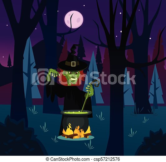 Angry witch woman character brewing potion. Vector flat cartoon illustration - csp57212576