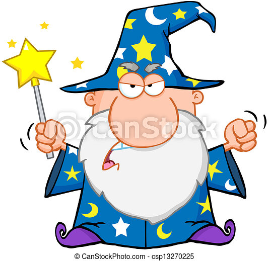 Angry Wizard Waving With Magic Wand - csp13270225