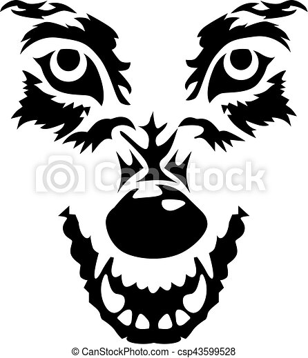 Angry wolf face - csp43599528