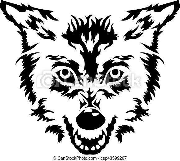 Angry wolf head - csp43599267