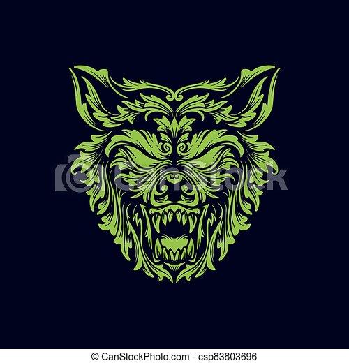 angry wolf head creative logo icon design vector illustration - csp83803696