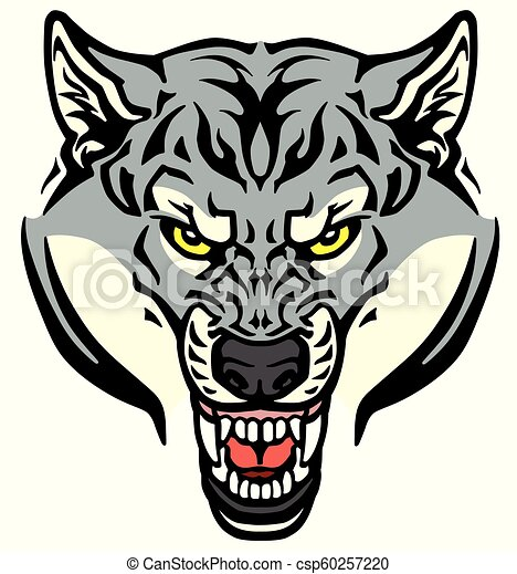 angry wolf head - csp60257220