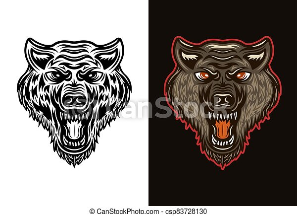 Angry wolf head in two styles black  and colorful - csp83728130