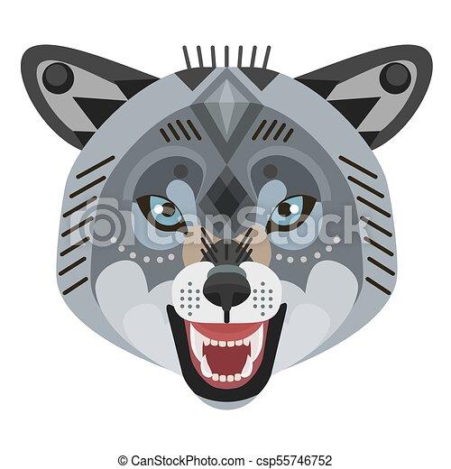 Angry wolf head Logo. Vector decorative Emblem. - csp55746752