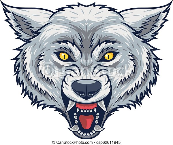 Angry wolf head mascot with open mouth - csp62611945