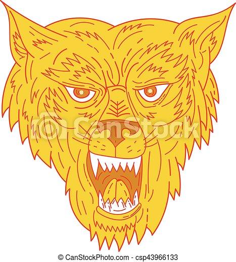 Angry Wolf Head Mono Line - csp43966133