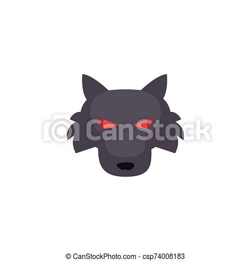 angry wolf head on white background - csp74008183