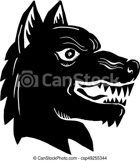 Angry Wolf Head Side Woodcut - csp49255344