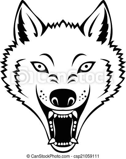 Angry wolf head tattoo - csp21059111