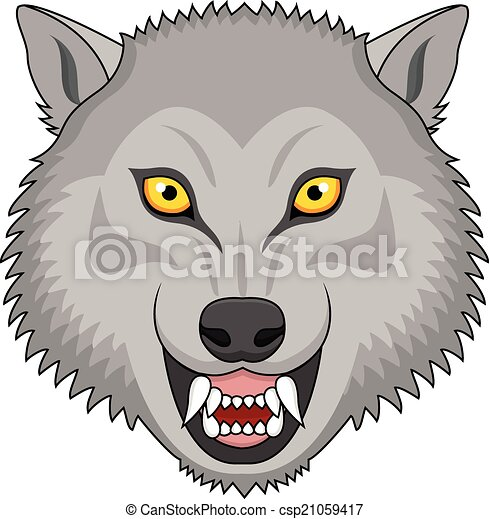 Angry wolf head tattoo - csp21059417