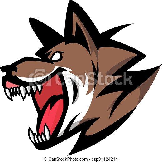 Angry wolf illustration design - csp31124214