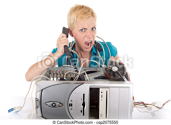 angry woman and computer - csp2075550