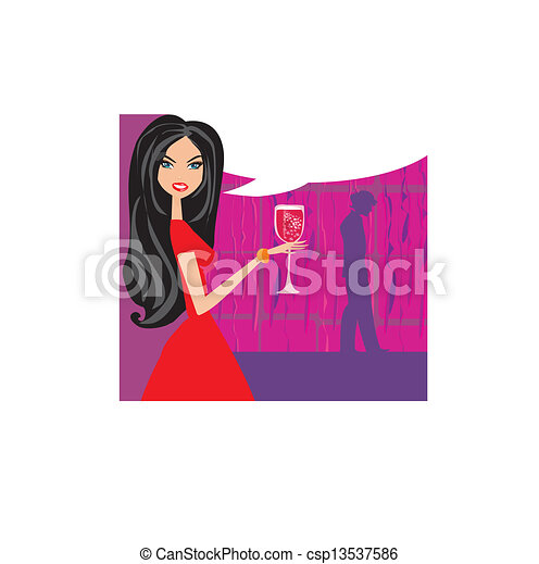 Angry Woman  in bar with man silhouette drinking cocktail  - csp13537586
