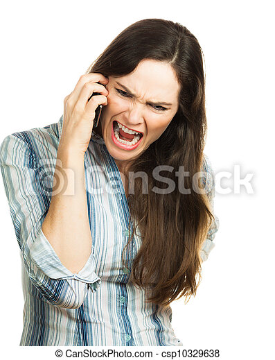 Angry woman screaming on the phone - csp10329638