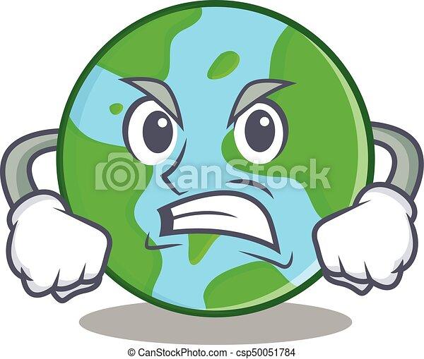 Angry World Globe Character Cartoon Vector Illustration