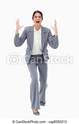 Angry yelling businesswoman - csp8350213