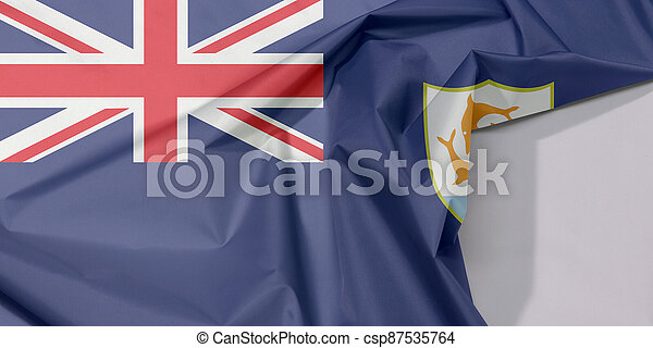 Anguilla fabric flag crepe and crease with white space, Blue Ensign with the British flag and the coat of arms of Anguilla in the fly. - csp87535764