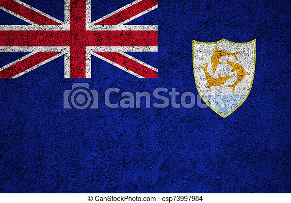 Anguilla flag painted on the cracked grunge concrete wall - csp73997984