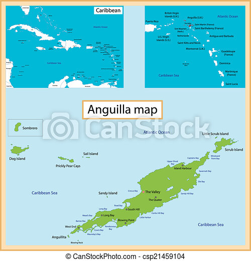 Anguilla map Map of anguilla drawn with high detail and vector