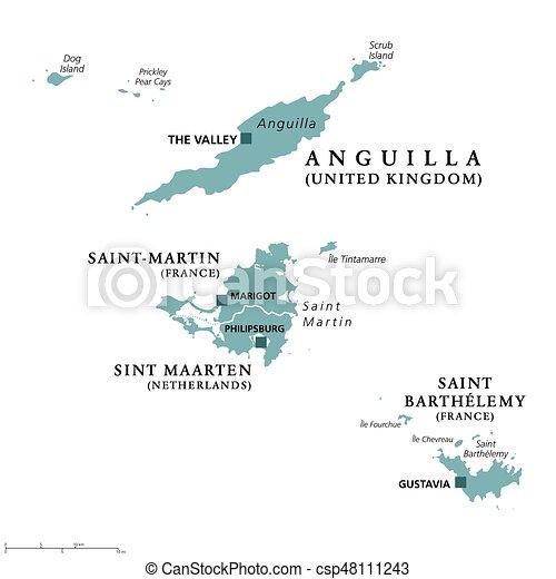Anguilla, Saint-Martin, Sint Maarten and Saint Barthelemy political map - csp48111243