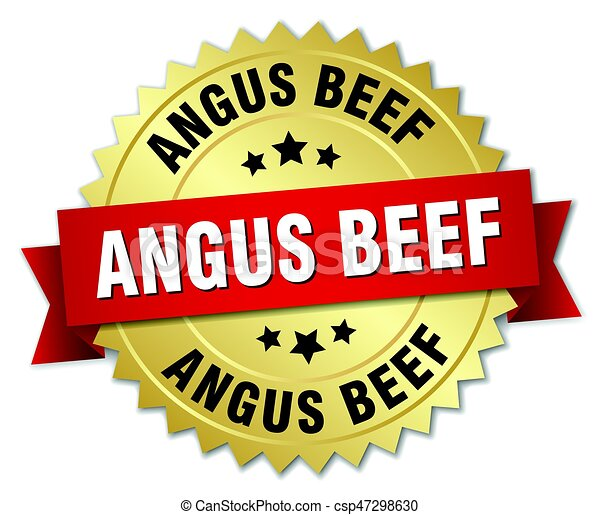 angus beef round isolated gold badge - csp47298630