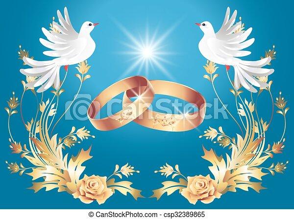 Clip art vectorial de anillos dos palomas boda  Card con