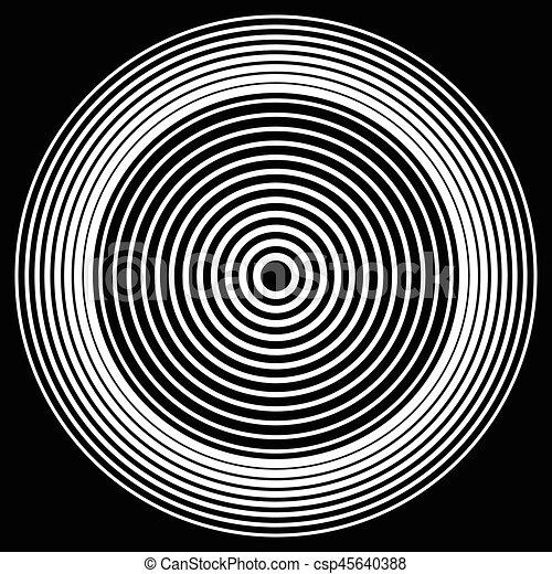 anillos, resumen, blanco, pattern., elemento, círculos, negro, geométrico, concéntrico, circular - csp45640388