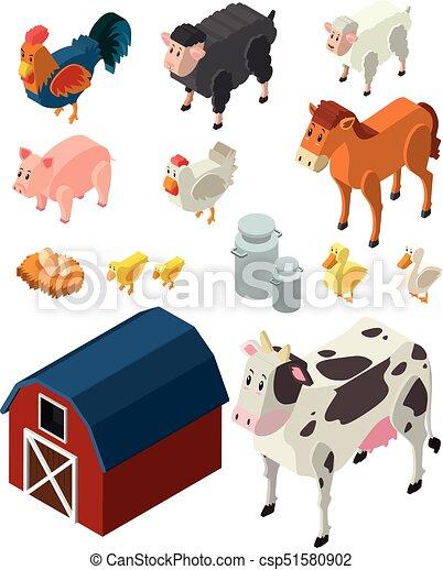 Animais Fazenda Muitos Desenho Tipos 3d Animais Fazenda