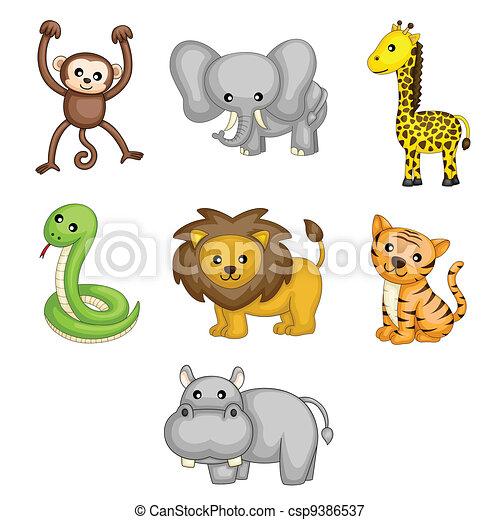 animais selvagens, caricatura - csp9386537