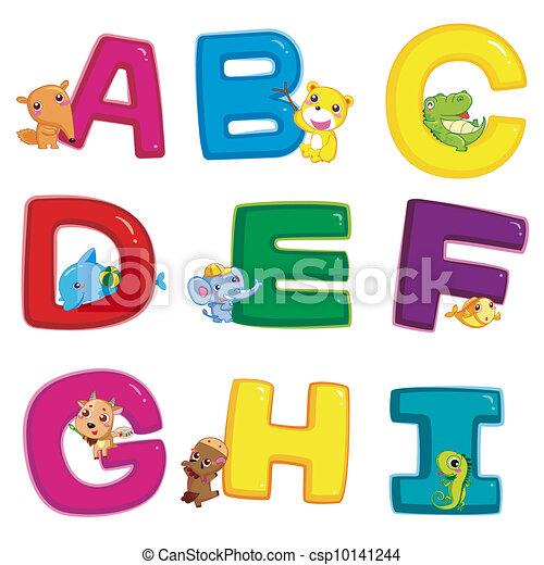 animal alphabet A to I - csp10141244