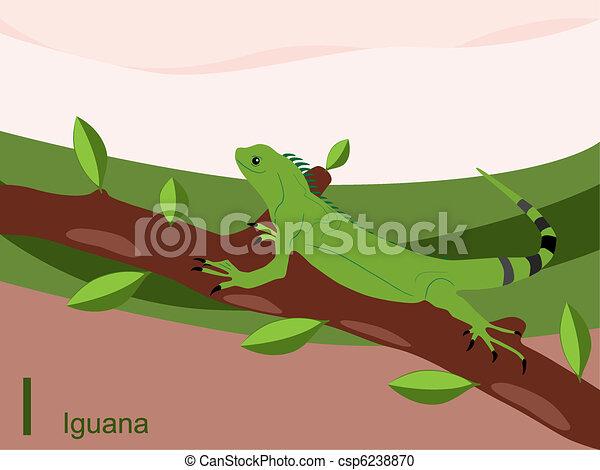 Animal alphabet, I for iguana - csp6238870