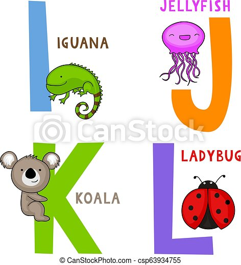 Animal Alphabet I, J, K and L - csp63934755