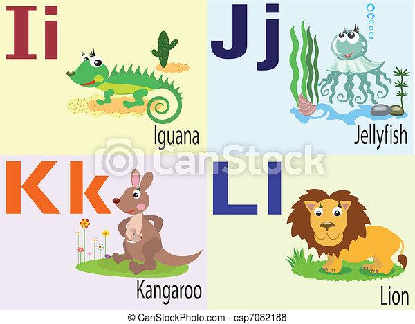 Animal alphabet I, J ,k ,L . - csp7082188