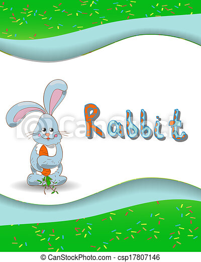 Animal alphabet letter R and rabbit - csp17807146