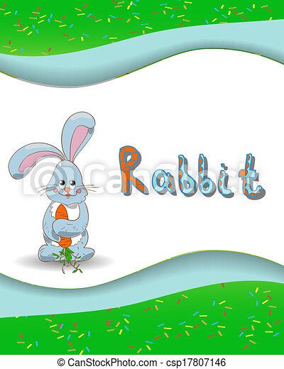 Animal alphabet letter R and rabbit - csp17807146