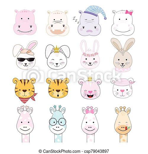 animal, bebé, lindo, carácter, conjunto, ilustración, caricatura - csp79043897