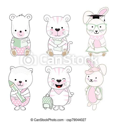 animal, bebé, lindo, escuela, espalda, conjunto, ilustración, caricatura - csp79044027