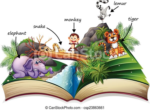 animal book illustration of a popup story book with many kitten clipart gif kitten clipart gif