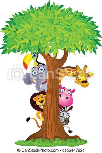 Animal cartoon hiding behind tree - csp6447921