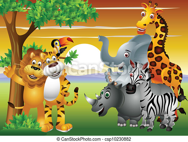 animal cartoon in the jungle - csp10230882